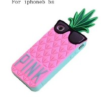 ONG-ELEGAN Victoria's Secret Fruit and pineapple Soft Silicone case For iPhone 5 5S-Pink