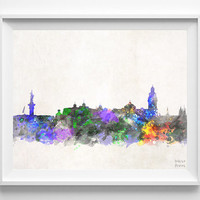 Quito Skyline, Watercolor, Ecuador, Poster, Dorm, Print, Cityscape, Painting, Illustration Art Paint, Wall, Home Decor [NO 625]