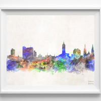 La Plata Skyline, Watercolor, Argentina, Poster, Spanish, Print, Cityscape, Painting, Illustration Art Paint, Wall, Home Decor [NO 623]