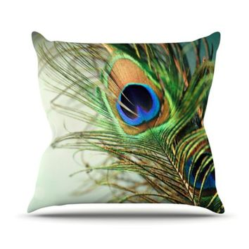 Kess InHouse Sylvia Cook Teal Peacock Feather Throw Pillow, 20 by 20-Inch