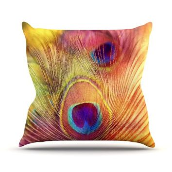 "Kess InHouse Sylvia Cook ""Peacock Feather"" Outdoor Throw Pillow, 16 by 16-Inch"