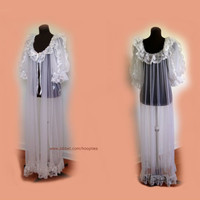 Vintage Peignoir Full Length with Lace and Double Chiffon Puffy Sleeves Large xL