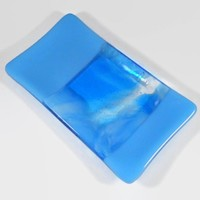 Art Glass Plate, Turquoise Blue Waves, Handmade Fused Glass, 3.5 x 6.5