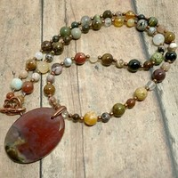 Fancy Jasper Pendant and Autumn Mix Gemstone Handmade Long Necklace