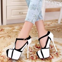 Fashion Round Closed Toe Stiletto High Heel T Strap Pumps