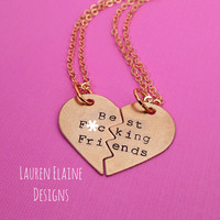Best F-ing Friends Heart Necklace Set- Hand Stamped Aluminum Brass or Copper- Choose Your Chain and Metal- EXPLICIT