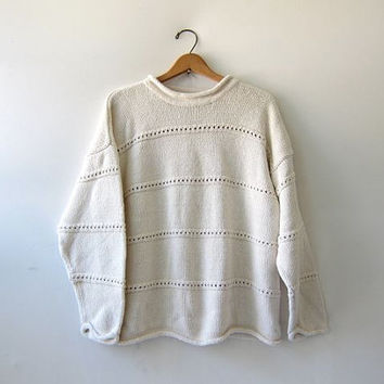 vintage natural white sweater. oversized pullover. loose knit slouchy sweater.
