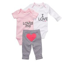 Carter`s 3-pc. Pink &amp; White Love Bodysuit Set
