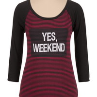 Striped weekend graphic tee