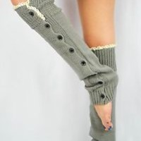 LACE Leg Warmers GRAY for women teens button down trim boot socks cute sexy NEW