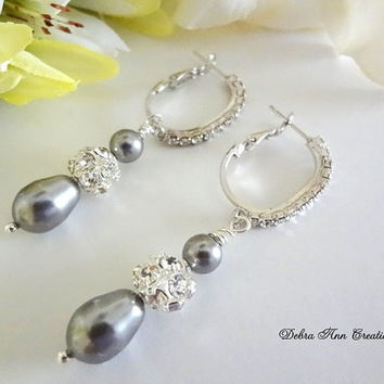 Swarovski Grey Pearl Crystal Earring,Grey Wedding Jewelry,Grey Bridesmaid Jewelry,Gray Bridesmaid Earring,Mother of Bride/Groom.Grey Jewelry