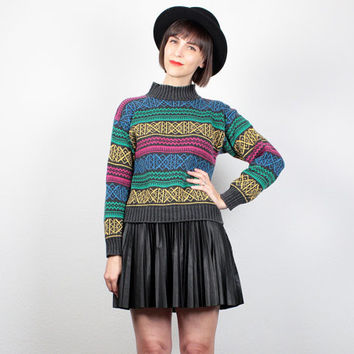 Vintage 1980s Sweater 80s Jumper Black Rainbow Nordic Knit Pullover High Neck Turtleneck Cosby Sweater Snowflake Stripe Crop Sweater S Small