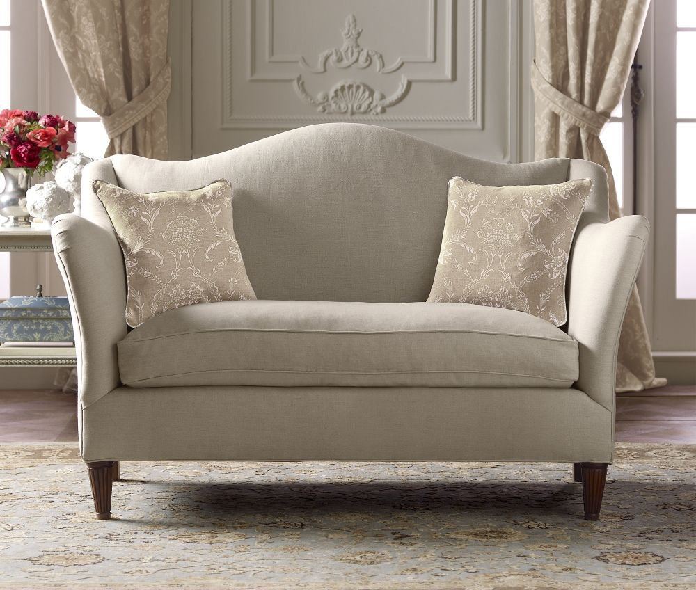 Camelback loveseat french country from for Small settee