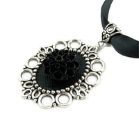 Black Dahlia Pendant in Beautiful Victorian Gothic Style with a Satin Choker Necklace - Mourning Chocker