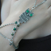 fall owl slave bracelet green eyed boho hipster  gypsy boho hippie and fantasy bohemian high fashion style
