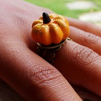 Pumpkin Ring. Food Ring. Fall Ring. Fashion Ring. from Evangelina's Closet