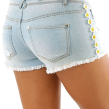 Sweet Like Daisy Shorts: Light Denim | Hope's