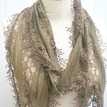 Summer Scarf Lightweight Scarf Olive Green Brown Lace Scarf Best Selling Shop Items Great Gift - by PIYOYO