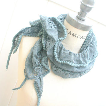 Grey Lace Scarf  Trendy Women Fashion Scarfs  Pom Pom  Lace Scarf    - By PIYOYO
