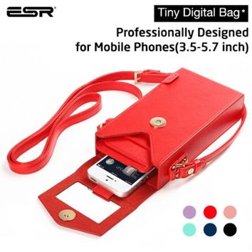 iPhone 6 Case, ESR Tiny Digtal Bag with Removabal Shoulder Strap [Square] [Crossbody Satchel Hand Bag] [Vintage] Box Purse With Shoulder,Phone Purse Phone Wallet Case for Samsung Galaxy Note 4, Apple iPhone 6 Plus, Phone Under 5.7 Inches (Red)