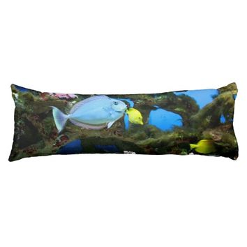 "Sea Blue Fish Body Pillow 20"" x 54"""