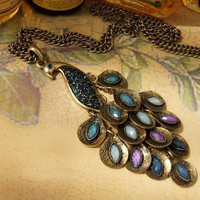 Retro elegant peacock necklace by lychot on Etsy
