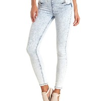 HIGH-WAISTED SAILOR BUTTON ACID WASH SKINNY JEANS