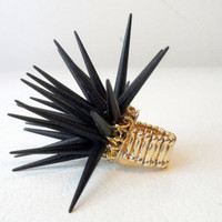 Black Gold Spike Ring, Stretch Ring, Punk Rock Ring, Gold Ring, Statement Ring, Gold, Black