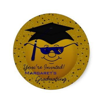 Round Graduation Smiley Stickers Gold