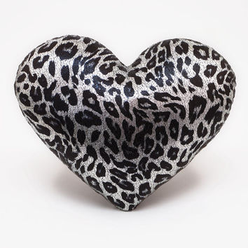 Leopard Print Silver Metallic Heart Shaped Decorative Pillow Valentine GIft