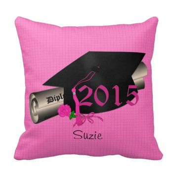 2015 Graduation Cap Pink Rose Throw Pillow,