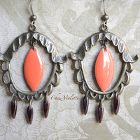 Orange Chandelier Acorn earring autumn colors