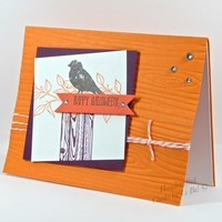 Festive Halloween Handmade Card With Black Crow Orange White Purple