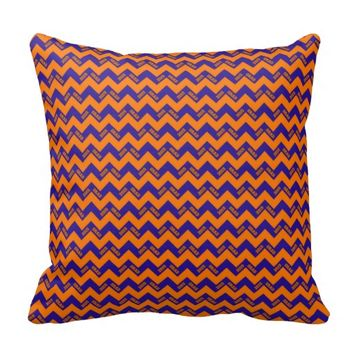 2015 Grad Chevron Pillow, Orange-Blue