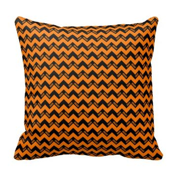 2015 Grad Chevron Pillow, Orange-Black