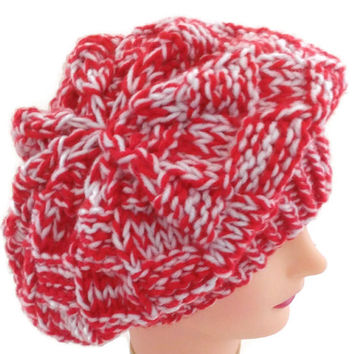 Handmade Red and White Warm Winter Hat, Red and White Slouchy, Red and White French Beret, Red and White Snow Hat