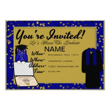 Graduation Gown and Stole Blue Invites