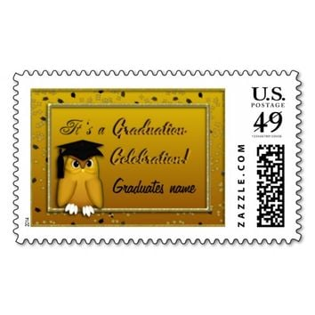 Graduation Postage Stamps, Gold Owl Confetti