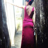 Long maxi dress wrapping back, open back, fairy, goddess dress, in red or black