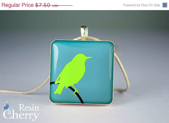 ON SALE: scrabble tile pendant,bird jewelry pendant,resin pendants,art necklace pendant- A0262SP1