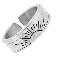 Tibetan White Metal Sun Moon Star Ring
