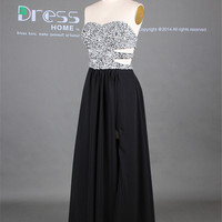 Sexy Black Sweetheart Silver Beading Hollow Chiffon A Line Prom Dress/Sweet 16 Open Back Flowy Prom Party Dress/Custom Made Prom Dress DH271