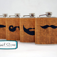 4 Mustache and Beard Designs On Burlap Textile by LiquidCourage