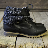 Mountain Trek Black Cuffed Sweater Boots