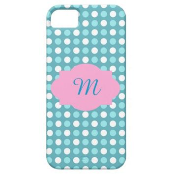 White and Blue Polka Dot Pattern iPhone 5 Case