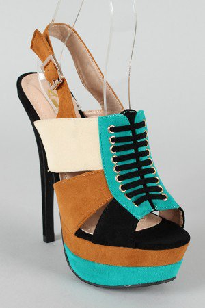Lois Colorblock Slingback Platform Sandal