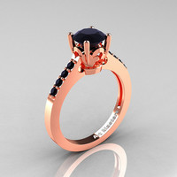 Classic 14K Rose Gold 1.0 Carat Black Diamond Solitaire Wedding Ring R101-14RGBD