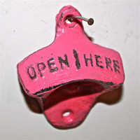 Bright Pink Bottle Opener /Cast Iron /Vintage, Retro Feel /Kitchen, Man-cave, Game Room, Patio, Hangout /Metal Wall Decor