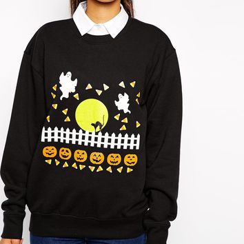Pop Boutique Halloween Scene Sweatshirt at asos.com