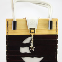 Handcrafted Wood and Leather Purse Dark Brown And Natural Wood